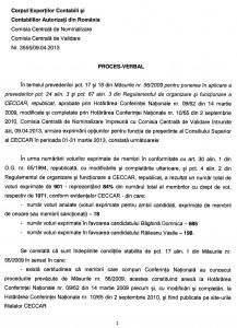 Corpul Experţilor Contabili şi Contabililor Autorizaţi din România / Comisia Centrală de Nominalizare / Comisia Centrală de Validare Nr. 3555/09.04.2013