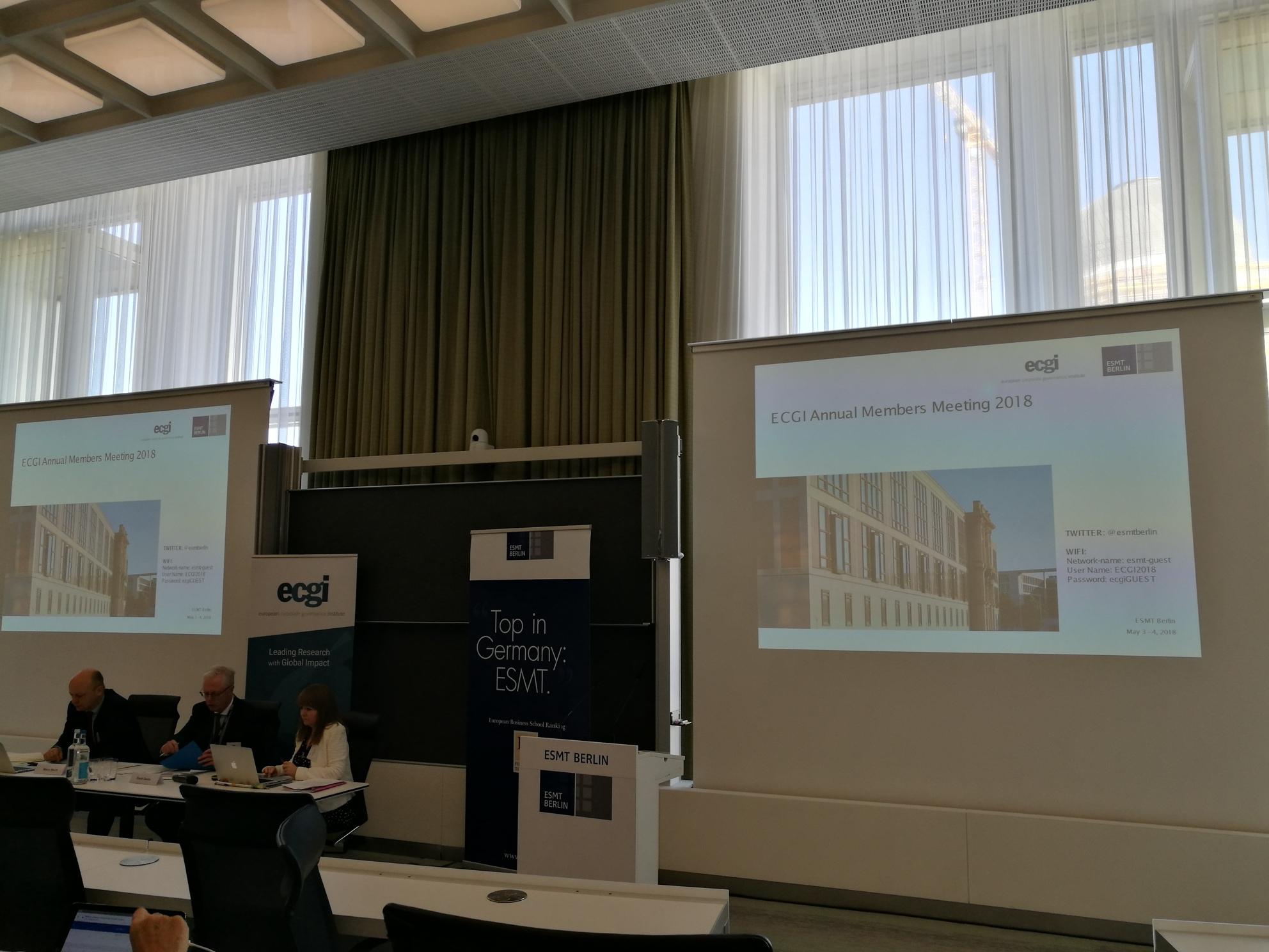 Adunarea Generală și lectura anuală a Institutului European de Guvernanță Corporativă