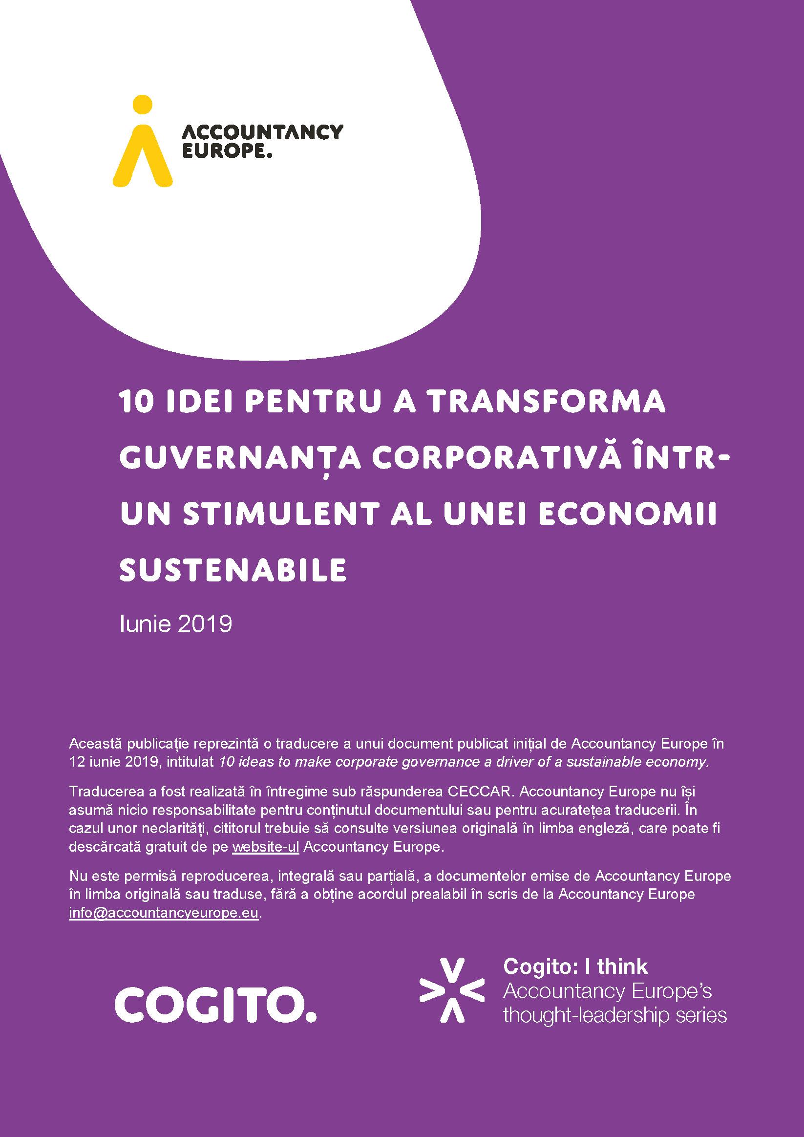 10 idei pentru a transforma guvernanța corporativă într-un stimulent al unei economii sustenabile