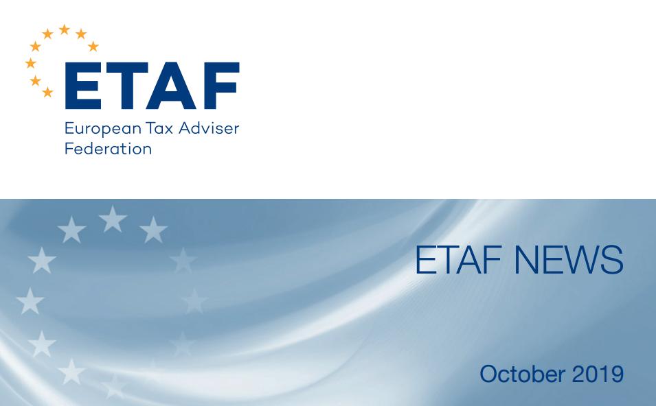 Newsletterul lunii octombrie, publicat de ETAF. Principalele noutăți fiscale europene din ultimele trei luni