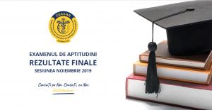 Examenul de aptitudini: rezultate finale, sesiunea noiembrie 2019