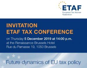 """Conferință ETAF privind """"Dinamica viitoare a politicii fiscale UE"""" - 5 decembrie 2019"""