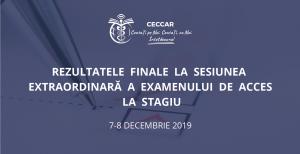 Rezultatele finale la Examenul de acces la stagiu, sesiunea extraordinară din 7-8 decembrie 2918