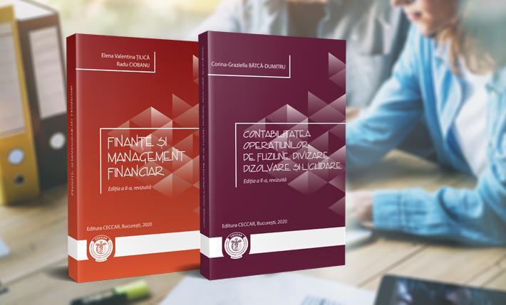"""Edițiile revizuite ale volumelor """"Contabilitatea operațiunilor de fuziune, divizare, dizolvare și lichidare"""" și """"Finanțe și management financiar"""", disponibile în curând la filialele Corpului"""
